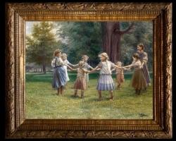 Carl Massmann(1859-1929) Kinderreigen, Tablou cu peisaj de vara, tablou cu parc, tablou cu flori, peisaj din natura, tablou cu copii in peisaj de vara