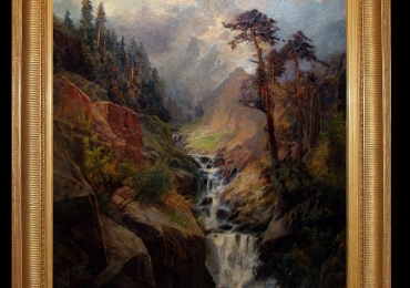 Carl Phillip Weber, Mountain landscape with waterfall. Tablou pictat manual