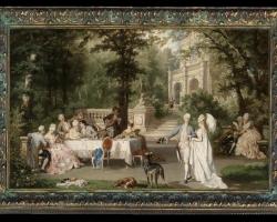 Carl Schweninger Jr, Carl Sininger Jr, Painting with garden gentlemen ladies galante company in the castle Park, Tablou cu peisaj de vara, tablou cu parc