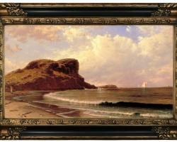 Castle Rock, Nahant, Massachusetts 1877, Tablou cu peisaj marin cu vapoare tablou nautic, tablou cu malul marii