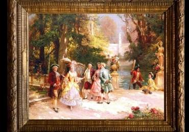 Cesare Agostino Detti, tablou cu peisaj de vara, tablou baroc, tablou cu nobili in parc, tablou cu oameni in gradina casei