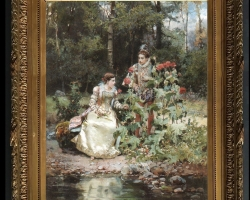 Cesare Auguste Detti Regina Mendonca, Tablou cu indragostiti, , Tablou cu peisaj de vara, tablou cu rau, tablou lac langa padure, peisaj din natura, tablou cuplu in parc