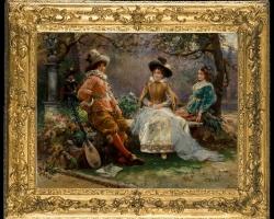 Cesare Auguste Detti s, Tablou cu peisaj de vara, tablou cu parc, tablou cu flori, peisaj din natura tablou cu oameni in parc, tablou cu indragostiti