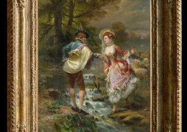 Cesare Auguste Detti, tablou cuplu in parc, tablou cu indragostiti, , Tablou cu peisaj de vara, tablou cu rau, tablou lac langa padure, peisaj din natura, tablou cu indragostiti