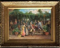 Cesare Augusto Detti, A Garden Party, Tablou petrecere in gradina, tablou peisaj de vara, tablou cu nobili in parc, tablou rococo