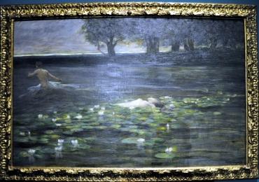 Cesare Laurenti , Ninfea 1898, peisaj dramatic, tablou cu nimfa pluting pe luciul apei, tablou cu lac, tablou cu peisaj de vara