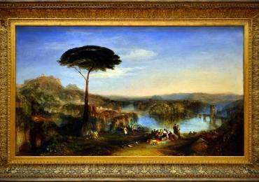 Childe Harold's pilgrimage, Italy, 1832, Joseph Mallord William Turner, Tablou cu peisaj de vara, tablou cu rau, tablou lac langa padure, peisaj din natura