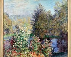Claude Monet Angolo di giardino a Montgeron, Tablou gradina cu flori, tablou cu flori de gradina, tablou floral