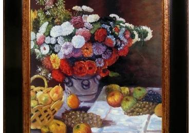 Claude Monet  Flowers and Fruit, Hand Painted, Vas cu fiori de gradina, tablou cu fructe, tablou cu flori de toamna, tablou floral