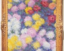 Claude Monet I Crisantemi, Tablou cu tufa de crizanteme, pictura cu fiori, tablou cu flori de gradina, tablou floral
