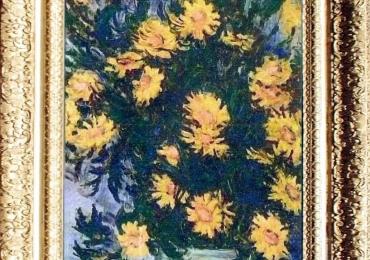 Claude Monet, Vas cu fiori de gradina, tablou cu flori galbene, tablou cu flori de toamna, tablou floral