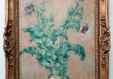 Claude Monet Vaso con papaveri, Vas cu fiori de camp, tablou cu flori mov, tablou cu flori de primavara, tablou floral