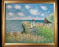 Cliff Walk at Pourville Painting, Monet, Tablou cu peisaj marin cu vapoare tablou nautic, tablou cu malul marii, tablou cu femei pe coasta marii