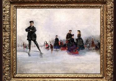 Conrad Wise Chapman, Tablou cu peisaj de iarna, tablou cu oameni la patinaj, tablou cu patinuar natural, peisaj din natura