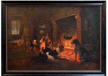Continental Tablou cu peisaj de iarna, tablou cu animale, tablou cu caini, tablou cu semineu 19th C Oil on Canvas