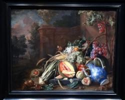Cornelis de Heem Still life with vegetables and fruit before a garden balustrade, Tablou natura moarta, tablou natura statica