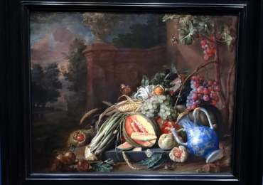 Cornelis de Heem Still life with vegetables and fruit before a garden balustrade, Tablou natura moarta, tablou natura statica