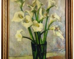 Corrado Michelozzi, Vaso di calle, Buchet de flori in vaza, tablou cu flori albe, tablou floral, tablou cu flori de cale