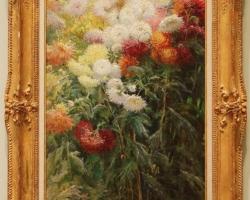 Crizanteme în gradina la Petit Gennevilliers, Aranjament cu flori de gradina, tablou cu flori in gradina, tablou floral