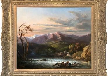 Crossing the River Antique Oil Painting by Leon Soulie, Tablou cu peisaj de vara, tablou barci, tablou lac langa padure, peisaj din natura, tablou cu munti