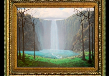 Cuadros paisajes en hiperrealismo, tablou cu cascada, tablou suprarealist,, Tablou cu peisaj de vara, tablou cu cascade, tablou cu padure si apa curgatoare, peisaj din natura