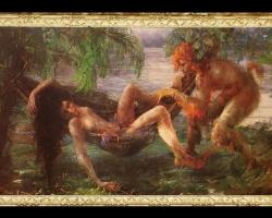 Curupira atordoando homem, Tablou mitologie, tablou cu legende mitologice, tablou cu femeie in hamac, tablou peisaj de vara