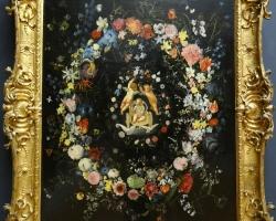 Daniel Seghers and Domenico Zampieri – Garland of flowers with the Triumph of Love, Tablour