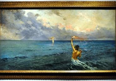 Death, from the Cycle of Human Life by Giulio Aristide Sartorio, Tablou cu peisaj marin, tablou nautic, tablou cu malul marii, tablou cu oameni in largul marii