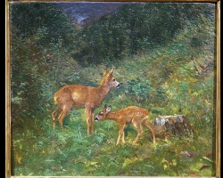 Deer in Woods  Oil Painting Attributed to Arthur Tait. Tablou pictat manual i