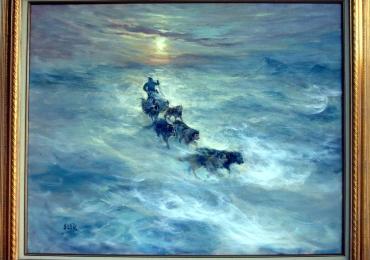 Dog Sled in Blowing Snow, tablou cu peisaj de iarna, tablou cu sanie trasa de caini, tablou cu animale, tablou cu peisaj glaciar