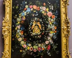 Domenico Zampieri, ghirlanda de fiori de camp, tablou cu flori multicolore, tablou cu flori salbatice, tablou floral
