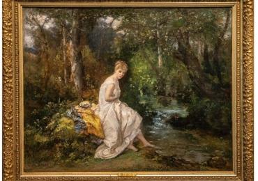 Dominique Baron 19th Century Continental Oil on Canvas, Tablou cu peisaj de vara, tablou cu rau, tabloucu femeie in padure, peisaj din natura
