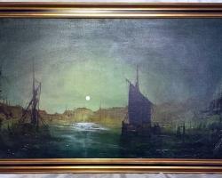 Dutch Baroque Marine Oil Painting Ships By Moonlight After Aert van der Neer, Tablou cu peisaj marin cu vapoare tablou nautic, tablou cu malul marii