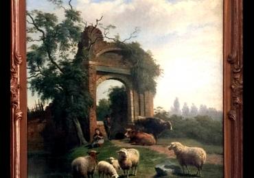 Dutch Frans Lebret Framed Landscape Oil Painting. Tablou pictat manual in