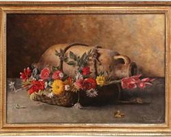 Early 20th Century Italian Framed Still Life Oil Painting Signed G. Becciani, Tablou natura moarta cu vas de lut, tablou natura statica