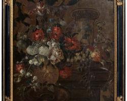 Early 20th Century Oil on Canvas in Manner of Pierre Nicolas Huilliot, Vas cu fiori, tablou cu flori de gradina, tablou floral