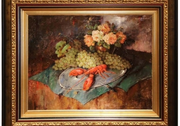 Early 20th Century Still Life Oil Painting with Lobster Signed Carl Fischer, Tablou natura moarta cu flori fructe si raci, tablou natura statica
