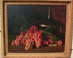 Early 20th century impressionist signed still life painting grapes in a table setting, Tablou natura moarta cu struguri, tablou natura statica