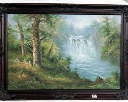 Eaterfall landscape oil painting. Tablou pictat manual in ulei pe panza. Peisaj