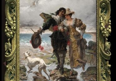 Edmond-Louis Dupain, Tablou cu peisaj de vara, tablou cu rau, tablou lac langa padure, peisaj din natura, tablou cu indragostiti