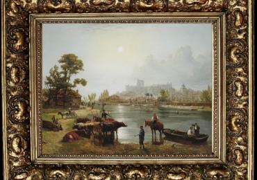 Edmund Bristow Windsor Castle, Tablou cu peisaj de vara, tablou cu rau, tablou lac langa padure, peisaj din natura, trablou cu palat, tablou cu castel