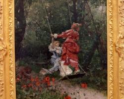 Edouard Toudouze, L'escarpolette, Tablou cu peisaj de vara, tablou cu parc, tablou cu flori, peisaj din natura, tablou cu copii in leagan, tablou cu femeie in parc