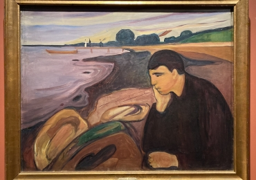 Edvard Munch. There are Worlds Within Us, Tablou cu peisaj marin, tablou nautic, tablou cu malul marii, tablou cu barbat la malul marii