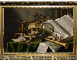 Edwaert Collier, still life with books Vanitas, Tablouri cu craniu carti si vase Realizate la Coman