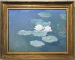 Eeffetto sera,Claude Monet Nymphèas, Peisaj lfioriac cu flori peisaj cu nuferi, peisaj cu apa albastra, tablou floral
