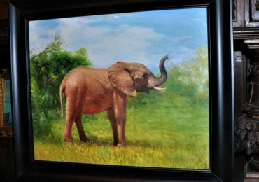 Elefant cu trompa in sus, tablou cu elefant, tablou cu animale salbatice, tablouri cu an