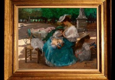 Eliseu Visconti, Maternity, tablou cu peisaj de primavara, tablou cu femeie si bebelus, tablou cu femeie in parc