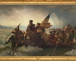 Emanuel Leutze Washington crossing the Delaware, 1851, Tablou cu peisaj marin cu vapoare tablou nautic, tablou cu malul marii