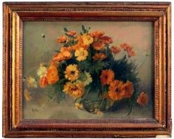 Emilio Vacchetti 20th Century Oil on Cardboard Italian Still Life Painting, 1944, Buchet de flori, tablou cu flori in vaza, tablou floral