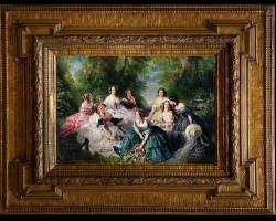 Empers Eugenie surrounded by her ladies in waiting, Franz Xaver Winterhalter, Imparateasa Elizabeta inconjurata de domnisoarele de la palat, peisaj de vara cu femei elegante